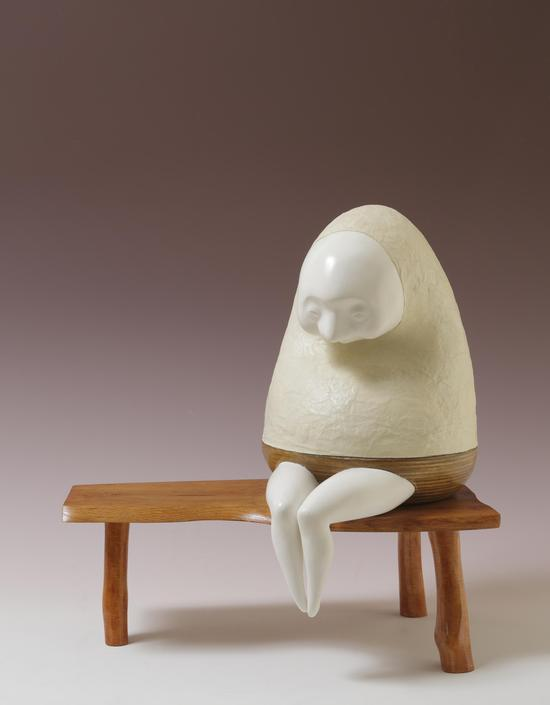 Gallery UG from Japan, Misako Maegaki, CO CO CHI, Plaster and wood on Japanese paper, 45 x 35 x 23cm, 2011