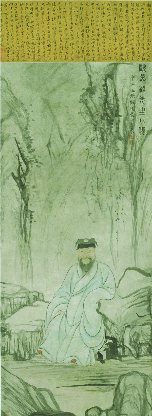 《顾梦游像》 明 曾鲸 纸本设色 105cm×45cm 南京博物院藏