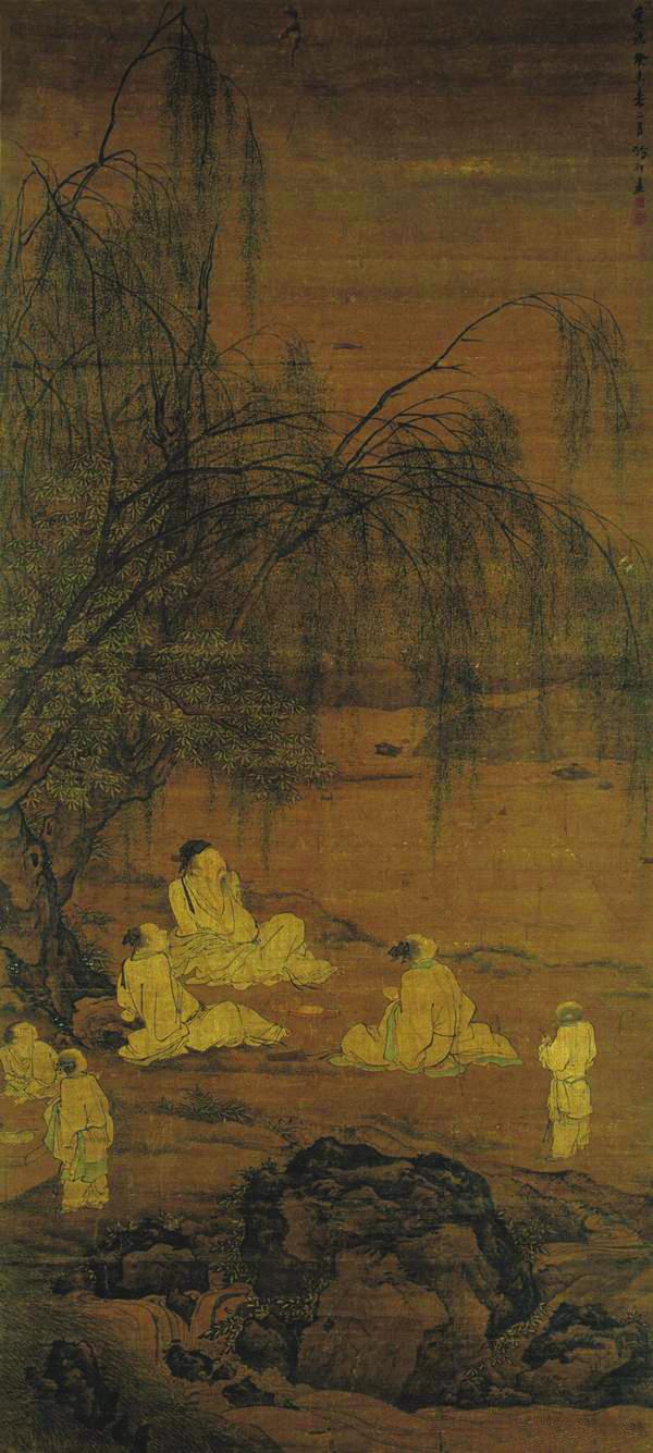 《斗酒听鹂图》 明张翀1643年 绢本设色 218cmx99.9cm 南京博物院藏