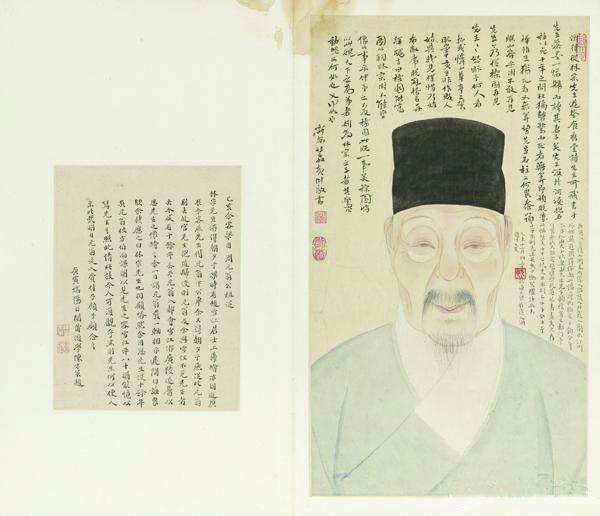 《张林宗肖像图册页》 清 赵澄 纸本设色 53.1cm×31cm上海博物馆藏