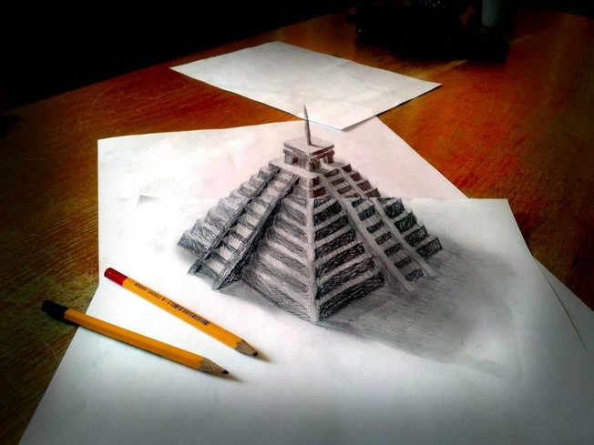 击穿次元壁的立体铅笔画