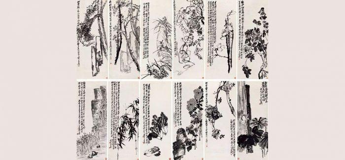 吴昌硕领衔《花卉十二屏》现身香港艺术空间
