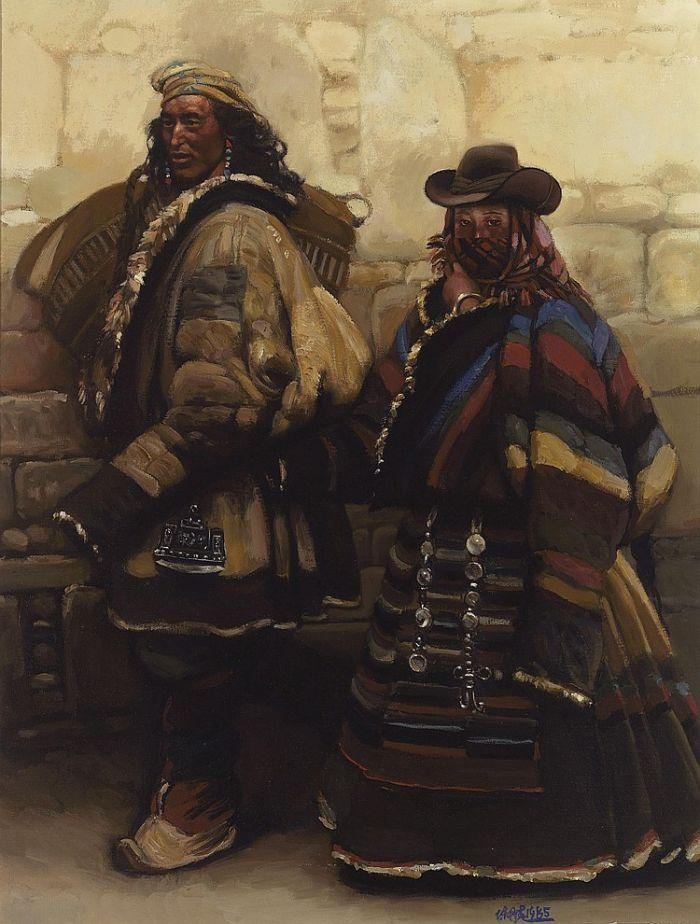 蓝色风景 布面油画 90×61cm 当代艺术部分,则有陈丹青西藏组画