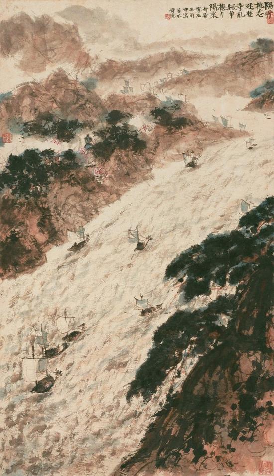 傅抱石 石涛诗意图 立轴 设色纸本 估价3000-4000万元