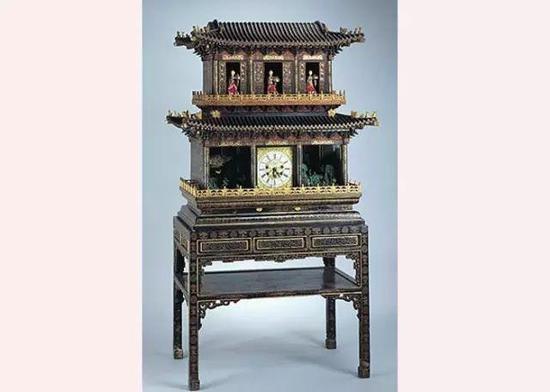 彩漆描金楼阁式自开门群仙祝寿御制钟