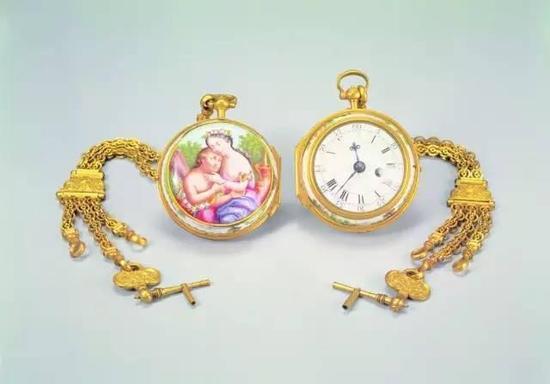 铜镀金画珐琅怀表