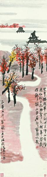 图为齐白石《山水十二条屏》中的《板塘荷香》《江上人家》《远岸余霞》《红树白家》(上起)。