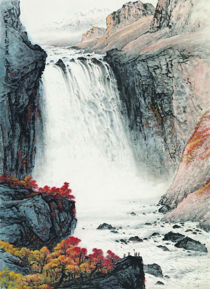 关山月1972年作 天池飞瀑 立轴 设色纸本RMB  16,330,000广东崇正拍卖有限公司2017年春季拍卖会