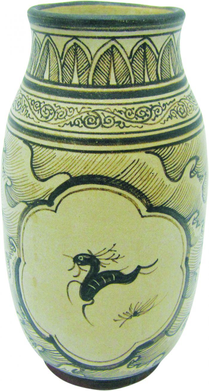 南宋吉州窑白釉彩绘海水飞鹿纹罐1