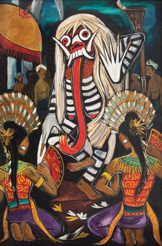 钟泗滨,《巴厘舞会》,油彩画布,134×87.5cm,1953。图片:致谢亚洲艺术中心