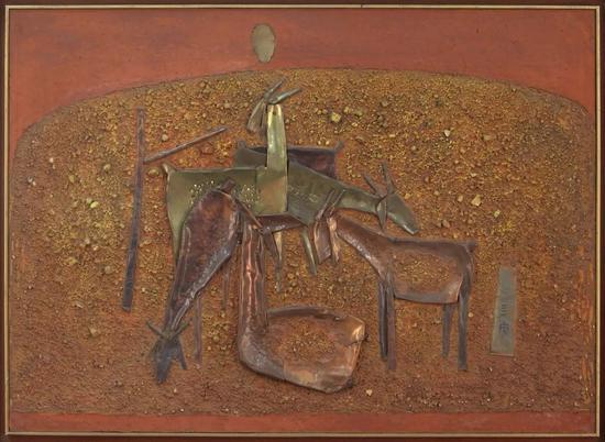 钟泗滨,《山羊》,综合材料,66×91cm,1974。图片:致谢亚洲艺术中心