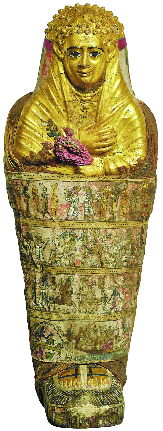 来自哈瓦拉的儿童木乃伊」是罗马时期的埃及木乃伊,有金色面具,手上则握着花朵