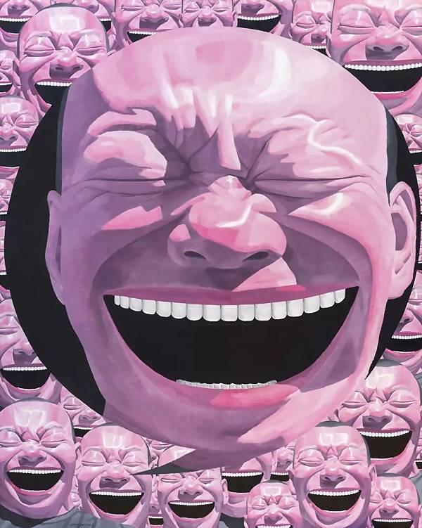"""这对于岳敏君而言,""""傻笑""""意味着一种隐藏的面具,解读面具背后的含义就"""