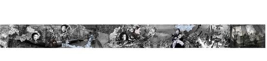 《上海风景 No.1》,陈小丹(中国),欧根纱、喷墨打印、瓷、骨、木等,150×350×350厘米,2017年