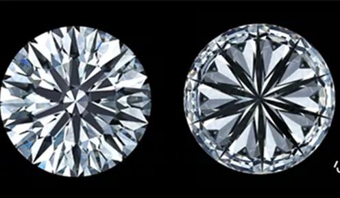 """""""十心十箭""""钻石切工刻面示意图及实物图"""