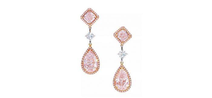 天然翡翠配钻石项链和粉钻耳环获得藏家认可