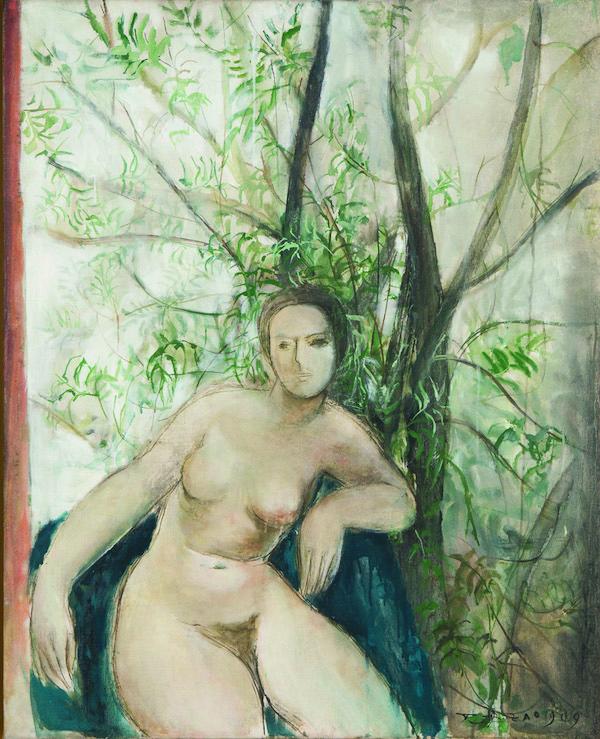 赵无极作品《树下的裸女》(1949)