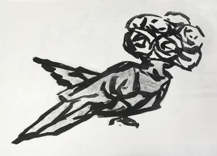 丛  伟 《鸽子花》 90X75cm 水印版画 2107