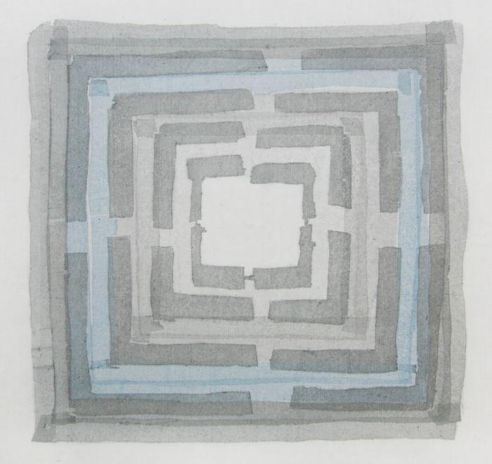 毛利群 《未选择的路》 30x30cm 水印版画 2017