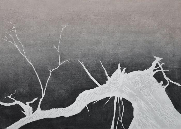 沈向红 《倾听树语之三》 60X84cm 水印版画 2017