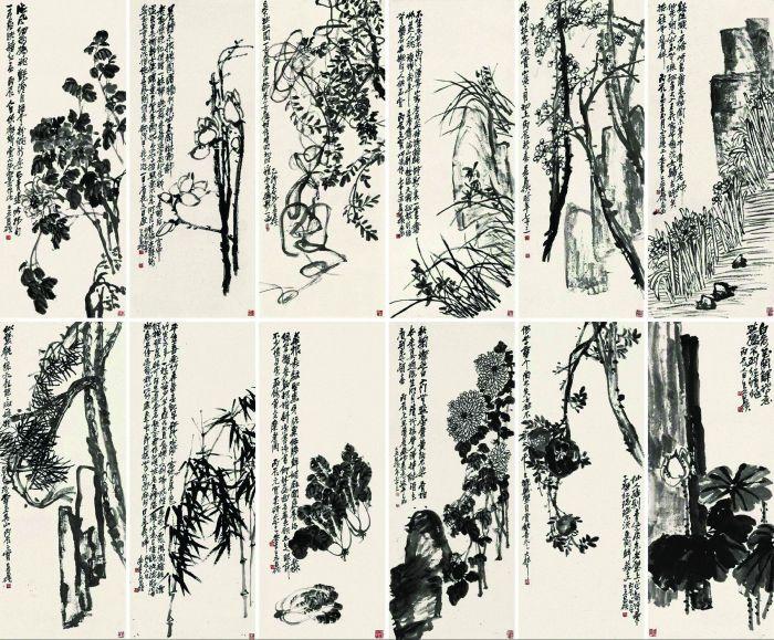 吴昌硕 1915-1916年作 花卉十二屏 镜心 水墨纸本