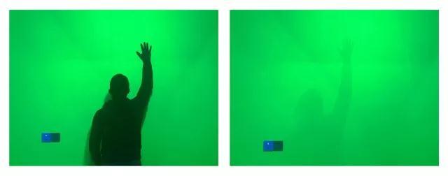 《剩余物-留光显影》3 混合媒介装置(感光图像、感光空间、金属支架、压克力、UV光) 尺寸可变   留下空间/2017