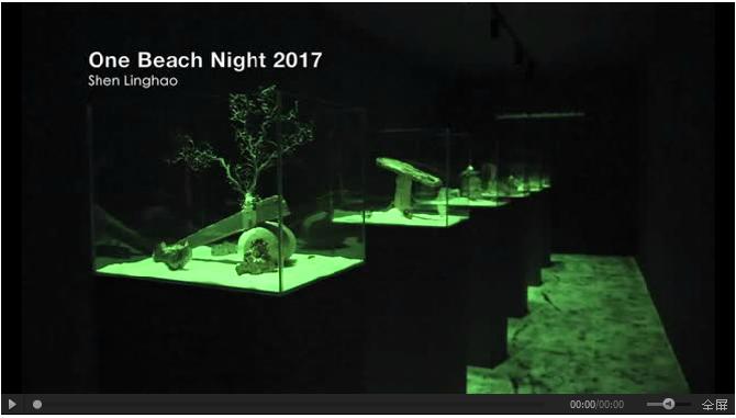 此次艺博会沈凌昊带来了他的艺术作品《One Beach Night》