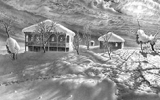 这不是照片 而是黑白雪景画
