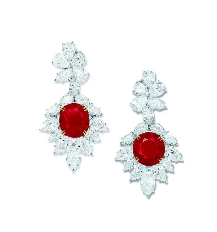 天然缅甸鸽血红红宝石配钻石耳环