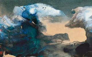 张大千六尺泼彩山水及书法合璧上拍香港苏富比