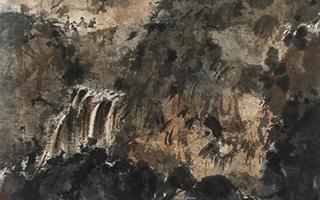 傅抱石《重岩赏泉》:于小天地中见大气象