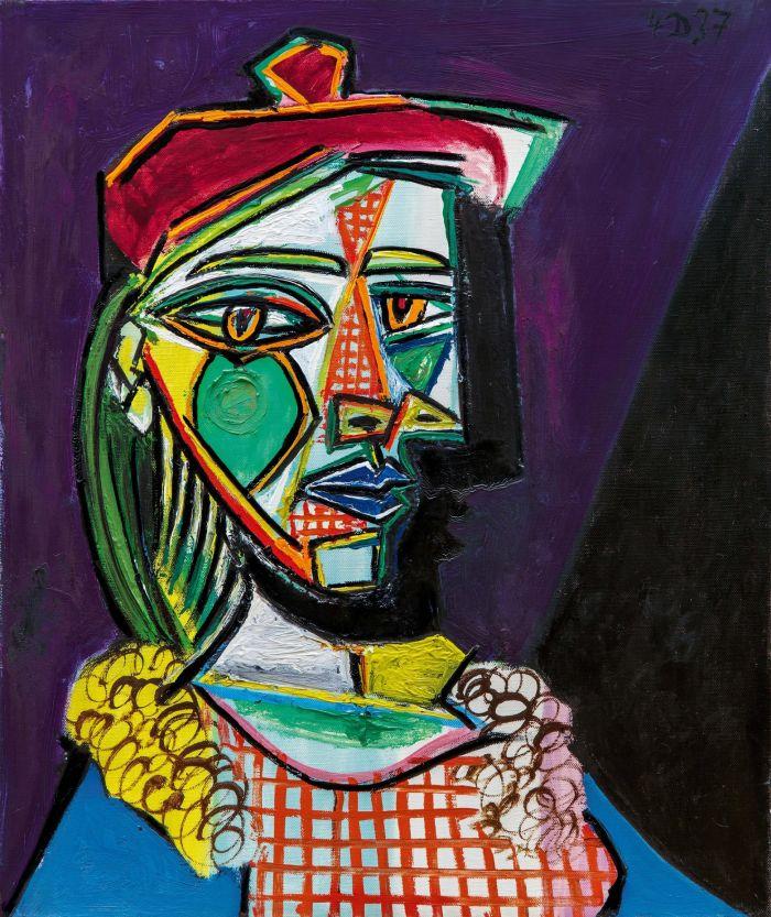 巴布罗·毕加索《戴贝雷帽、穿格子裙的女子(玛莉·德雷莎·沃特)》原图