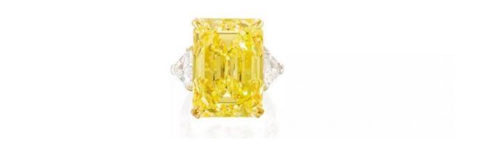 艷彩黃色鉆石配鉆石戒指 拍品編號:1659 成交價:22,320,000 港元