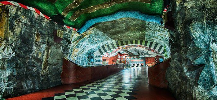 斯德哥尔摩地铁站里的艺术长廊