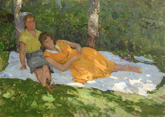 格里查依 树荫下的女人 油彩纸板 49.5x70cm 1959