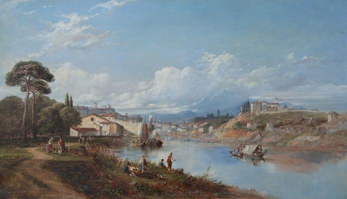威廉 奥利弗 晴朗的河湾风景 布面油画  54×95 cm 19世纪中期