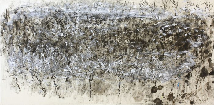焦墨风景 68cm×138cm  丙烯 水墨 宣纸 2011年