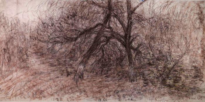 北小河边柳树之三 97cm×197cm 色粉 2017年