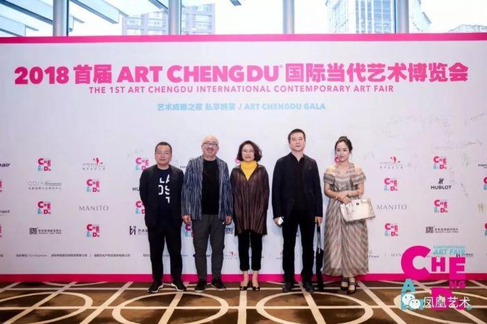 5ART CHENGDU国际当代艺术博览会开幕式上,收藏家王海涛夫妇、收藏家乔志兵等