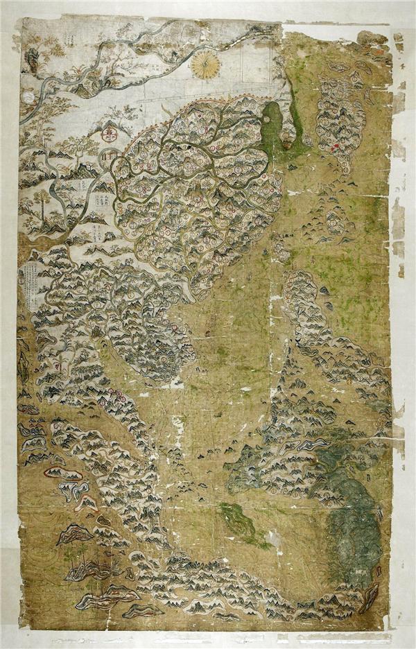 """牛津大学鲍德林图书馆""""重新发现""""的一幅明代彩绘本航海图"""
