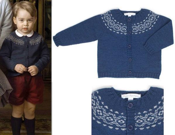 夏洛特穿着乔治的针织衫(图片来源于dailymail)