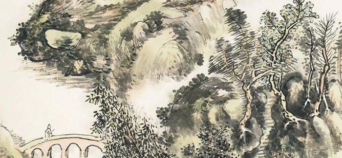 黄宾虹《秋山策杖》:秋雁客影皆入画