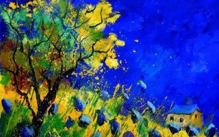 诗意油彩 让人沉醉的蓝色矢车菊