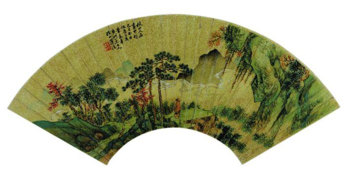 圖說:蓮溪秋山人在畫中行圖扇頁。揚州博物館提供