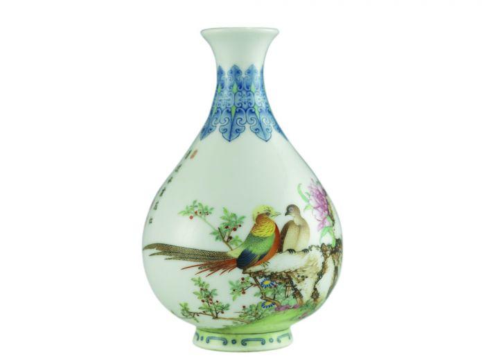 乾隆款珐琅彩芍药雉鸡图玉壶春瓶-1-2012051602492234