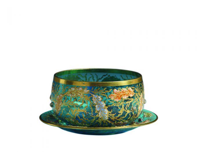 透明天蓝色镀金玻璃画珐琅花卉纹碗碟