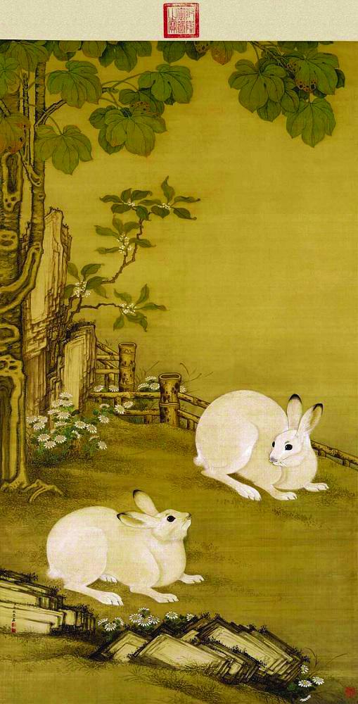 清 冷枚 《梧桐双兔图》故宫博物院藏 中期绘画特展