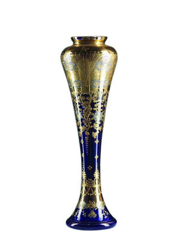钴蓝色镀金银玻璃洋菊纹瓶