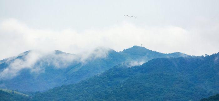 晚来新雨未雨之 四山云雾锁二尖