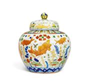 五彩鱼藻纹盖罐